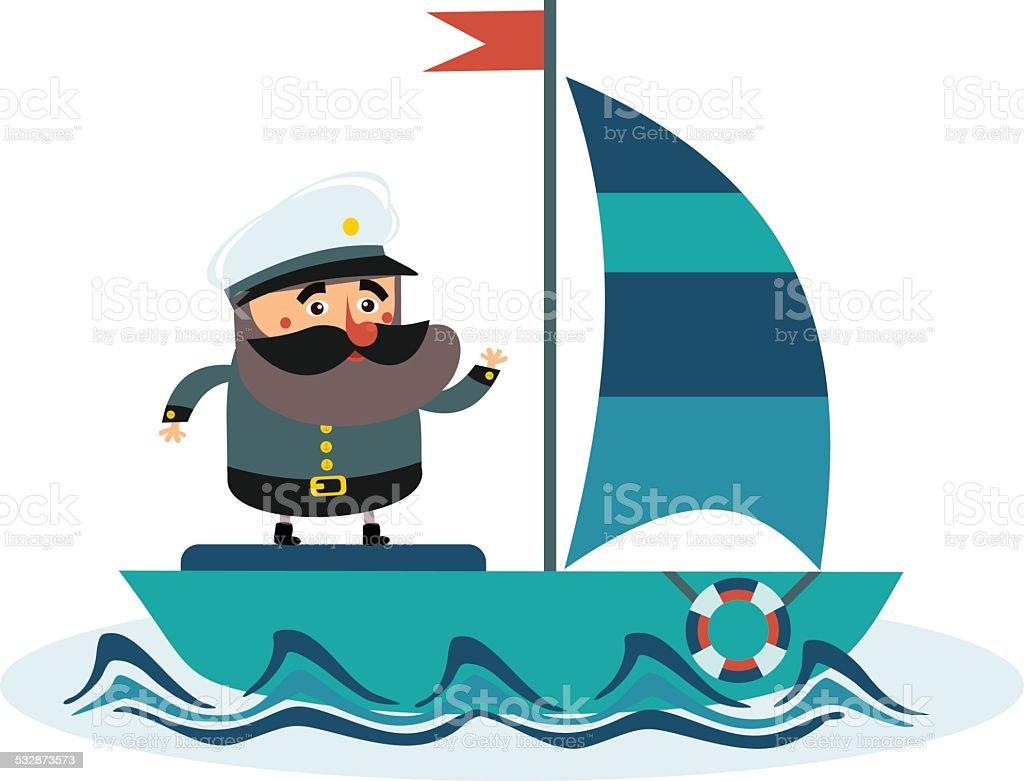 captain on the ship vector art illustration