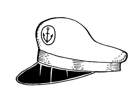 Captain sailor hat hand drawn illustration