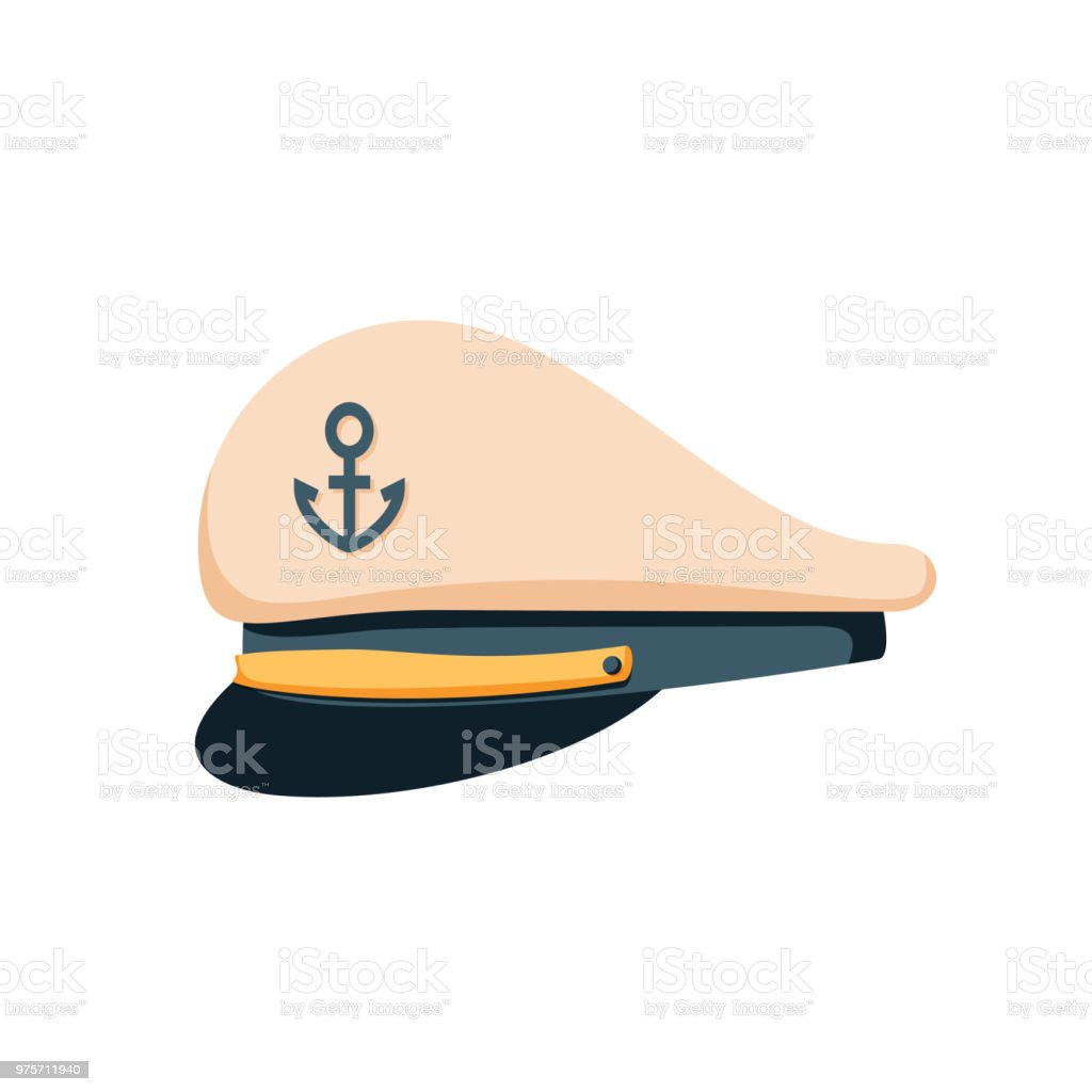 Kapitein matroos hoed pictogram, platte ontwerp vector. Marine GLB, officieren van het schip of admiraal. Matroos, marine kapitein hoed. - Royalty-free Achtergrond - Thema vectorkunst