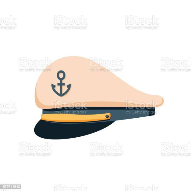 Kapitein Matroos Hoed Pictogram Platte Ontwerp Vector Marine Glb Officieren Van Het Schip Of Admiraal Matroos Marine Kapitein Hoed Stockvectorkunst en meer beelden van Achtergrond - Thema