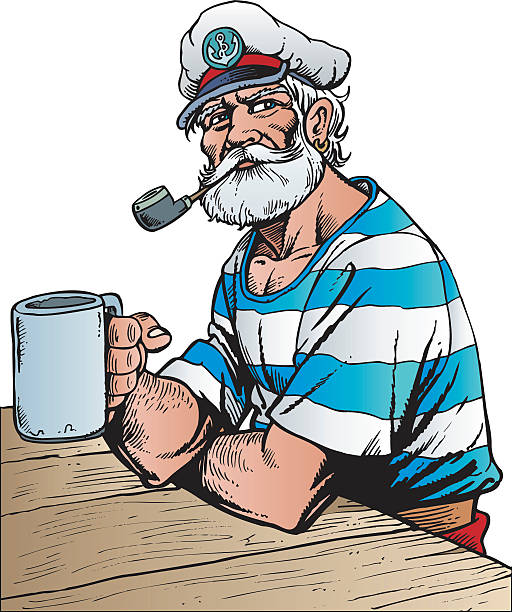 captain - old man smoking pipe drawing stock illustrations, clip art, cartoons, & icons