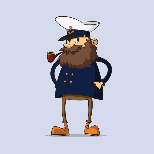 captain with a pipe - old man smoking pipe cartoons stock illustrations, clip art, cartoons, & icons