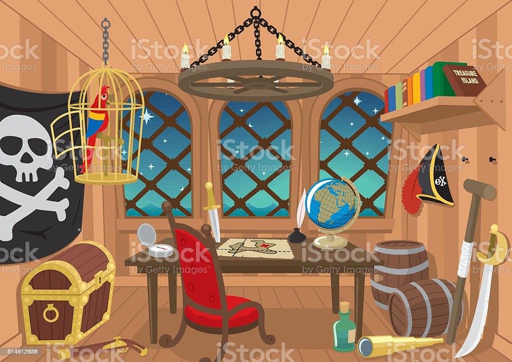 Captain's Cabin vector art illustration