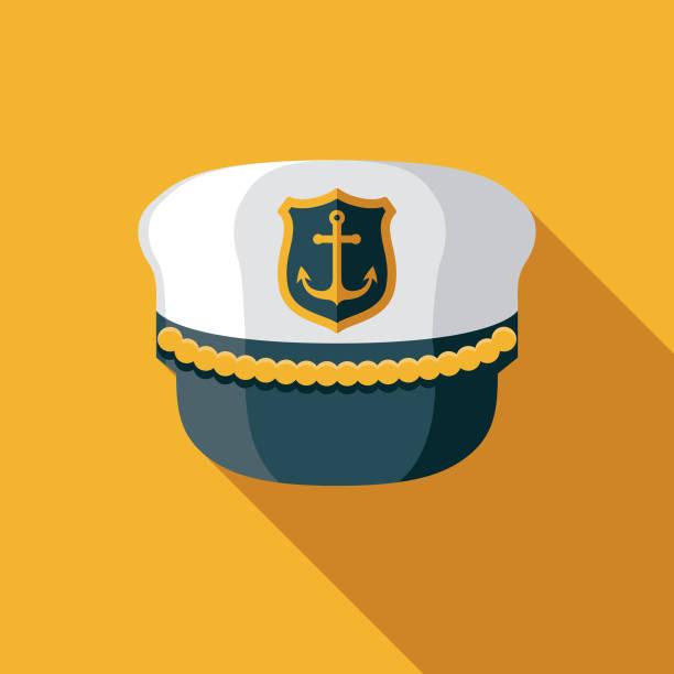 captain es hat nautical flat design icon - matrosenmütze stock-grafiken, -clipart, -cartoons und -symbole