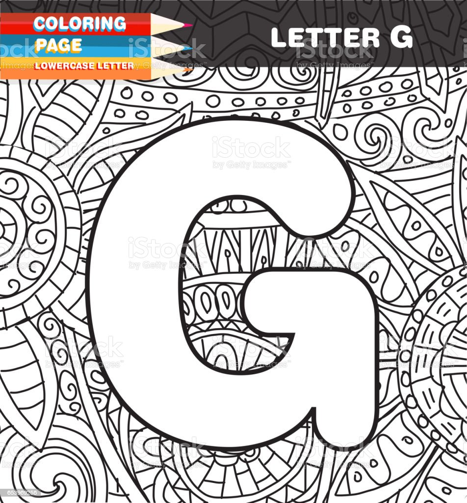Captial Letter Coloring Page Doodle Stock Vector Art More Images