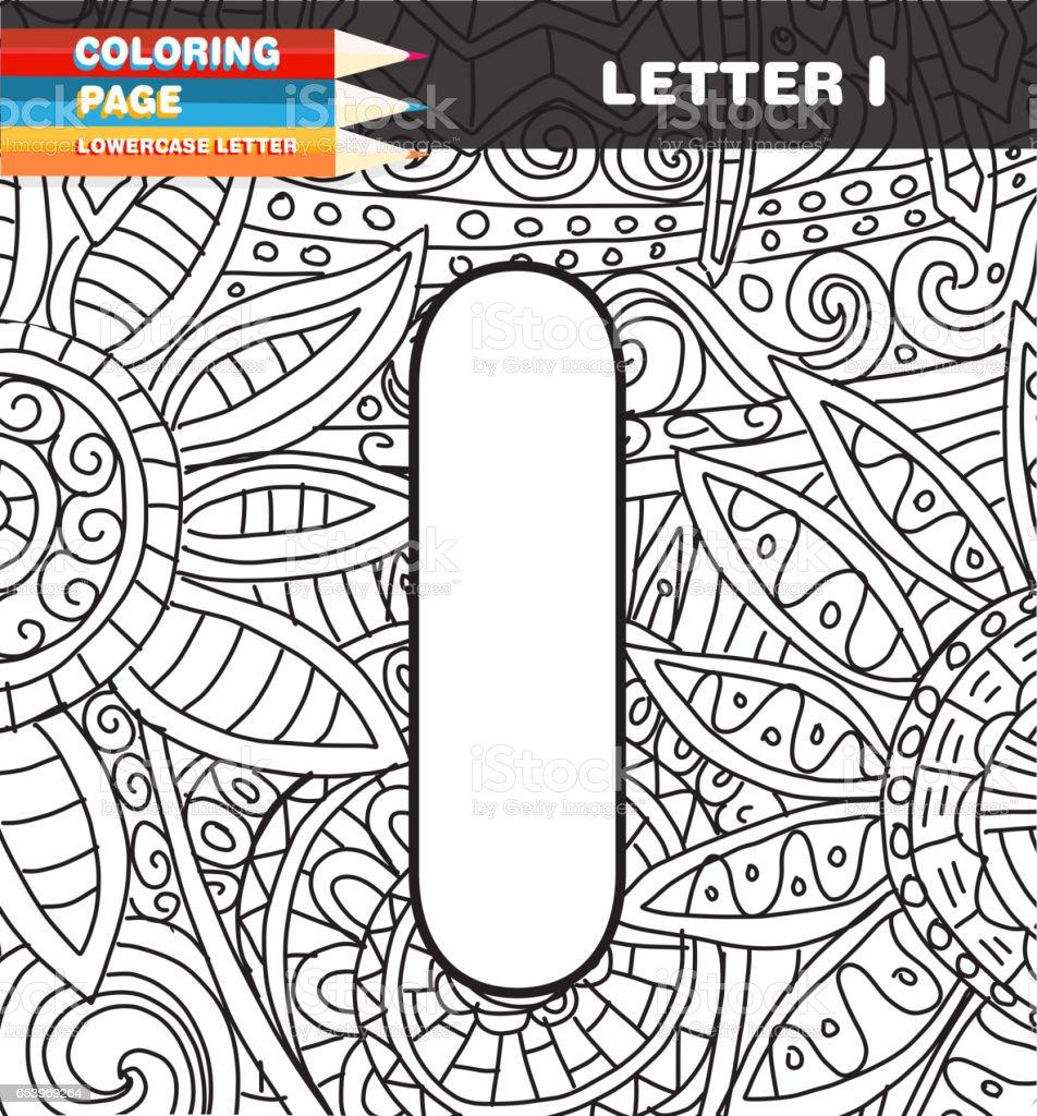 Sermaye Mektup Boyama Sayfa Doodle Stok Vektör Sanatı Alfabenin