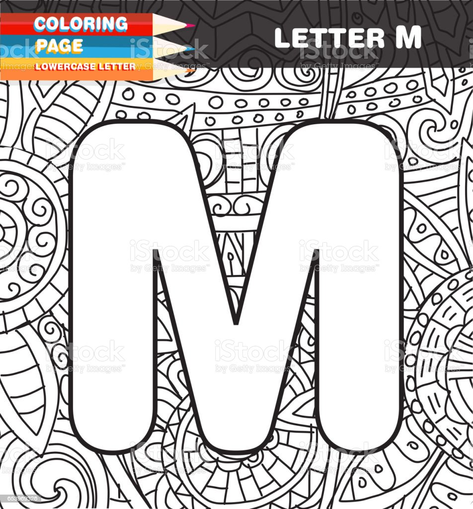 Sermaye Mektup Boyama Sayfa Doodle Stok Vektor Sanati Alfabe Nin