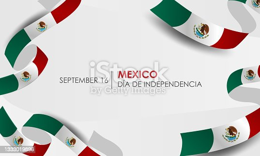 istock Caption: Mexican Independence Day, September 16. Vector illustration, fireworks balloons and ribbons with mexico flag. Realistic vector. 1333019896