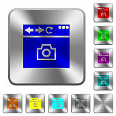 Capture browser screen rounded square steel buttons