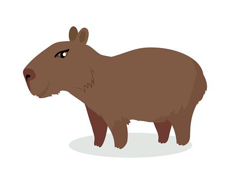 Capybara Cartoon Icon in Flat Design