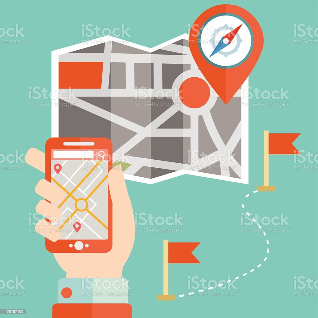 Car 60 Route map and GPS navigation system device vector art illustration