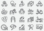 Car Accident And Insurance Line Icons