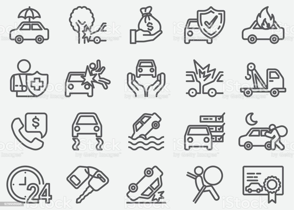 Car Accident And Insurance Line Icons vector art illustration
