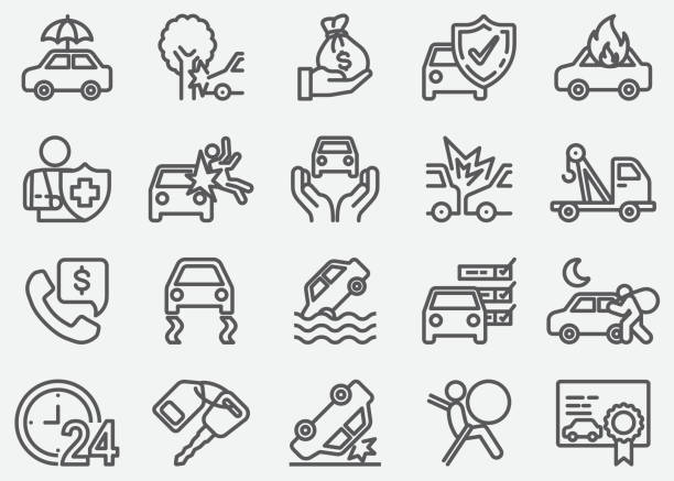 car accident and insurance line icons - insurance stock illustrations