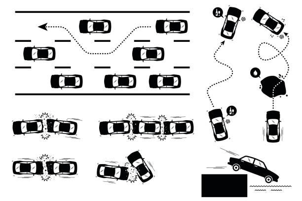 bildbanksillustrationer, clip art samt tecknat material och ikoner med bilolycka och vårdslös körning. - krockad bil