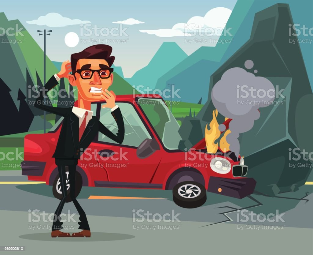 Car accident. Angry crying scaring victim businessman office worker character vector art illustration
