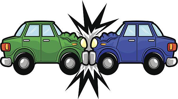 bildbanksillustrationer, clip art samt tecknat material och ikoner med car accident cartoon - krockad bil