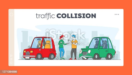 istock Car Accident, Conflict on Road between Drivers Landing Page Template. Characters Arguing at Broken Automobiles, Traffic 1271084595
