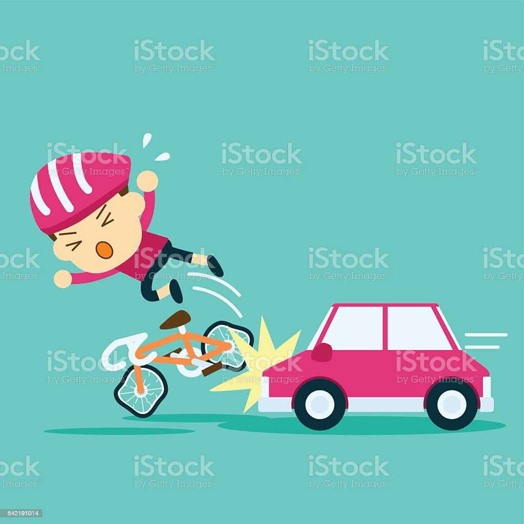 car accident crash cyclist ride a bicycle vector art illustration
