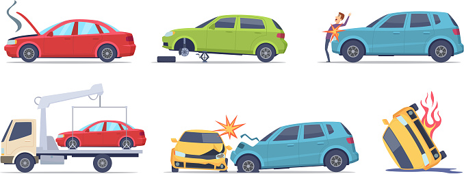 Car accident. Damaged transport on the road repair service insurances vehicle vector illustrations in cartoon style