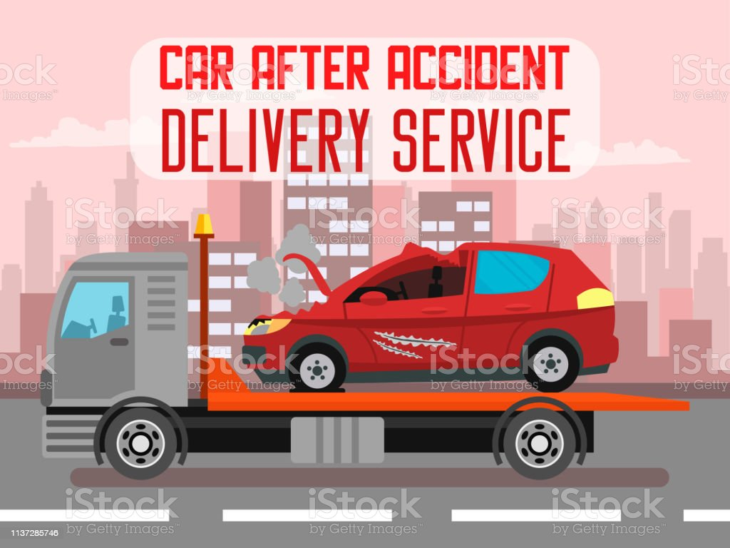 Car Accident Delivery Service Web Banner Template Stock