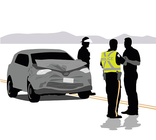 Car Accident Details A vector silhouette illustration of a police officer talking to a man, investigating a car crash.  The car has a smashed up front end while a fire man stands near. police interview stock illustrations