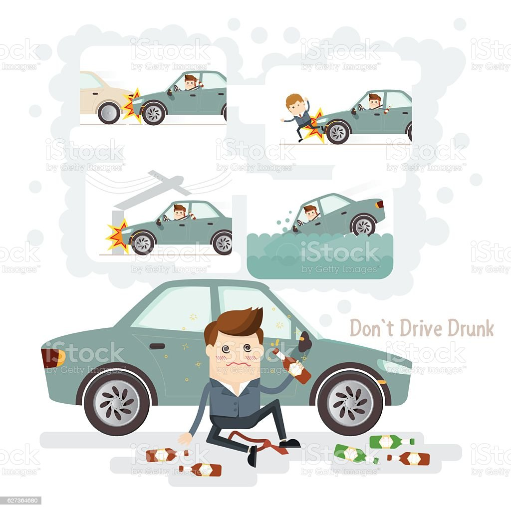 car accident from driving while intoxicated do not drive drunk. car accident from driving while intoxicated Adult stock vector