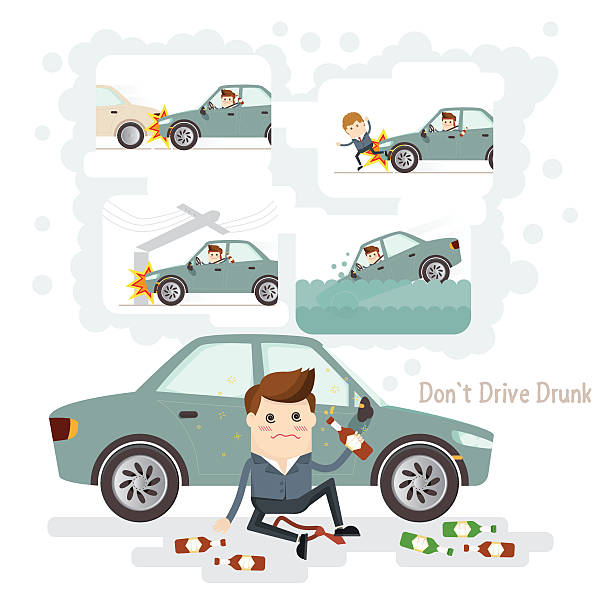 car accident from driving while intoxicated do not drive drunk. car accident from driving while intoxicated careless stock illustrations