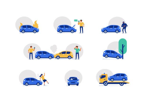 autounfall-symbole - flat design stock-grafiken, -clipart, -cartoons und -symbole