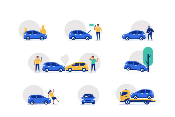 stockillustraties, clipart, cartoons en iconen met auto-ongeluk iconen - auto