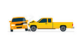 Car crash involving two yellow cars isolated on white background. Automobile accident concept.  Side view.