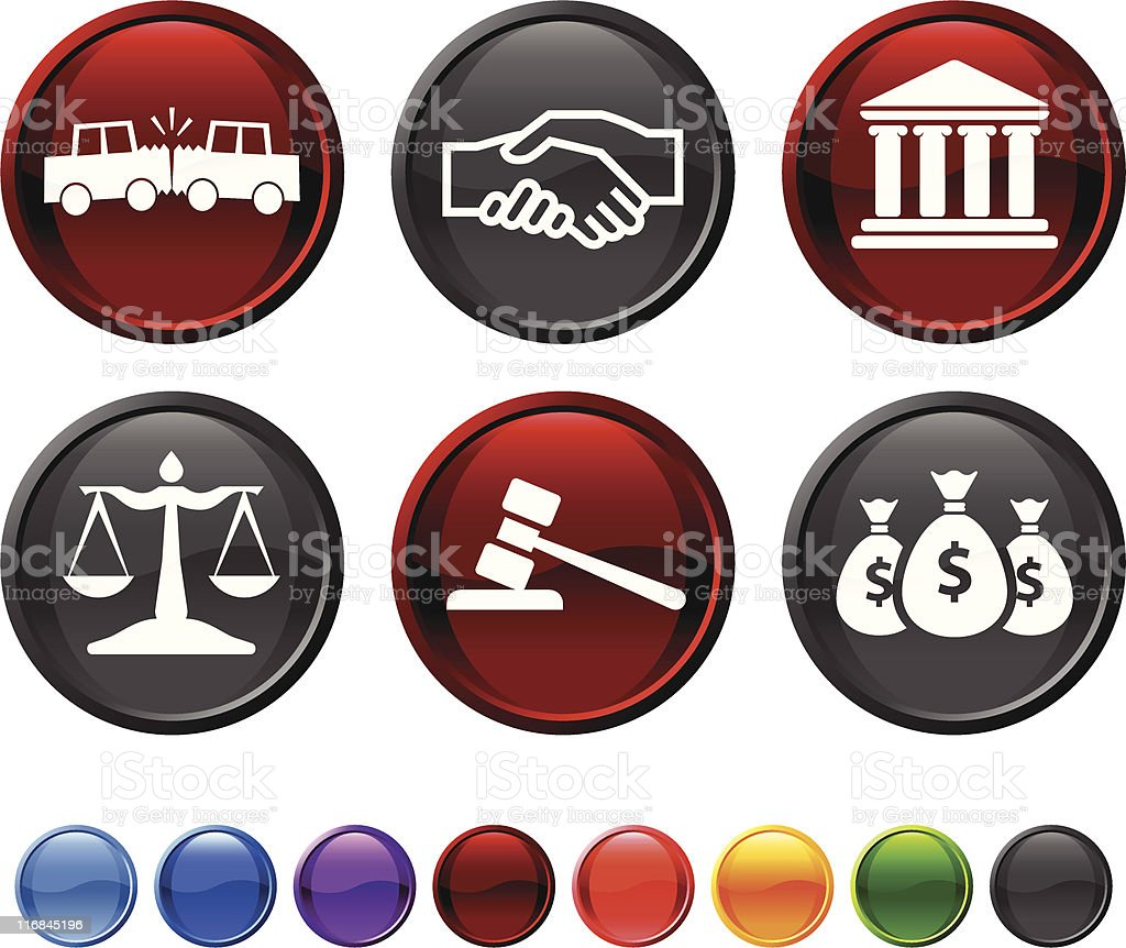 car accident legal royalty free vector icon set royalty-free stock vector art