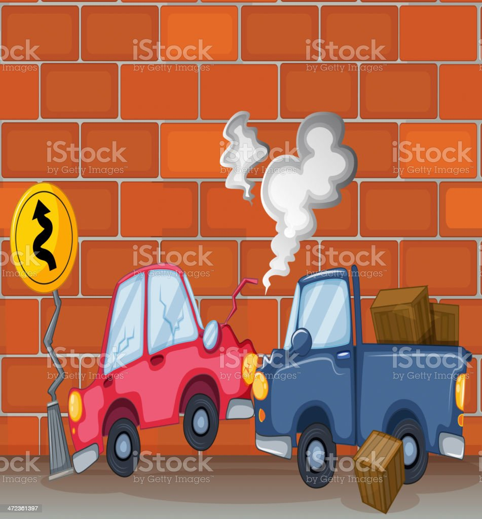 car accident near the wall royalty-free stock vector art