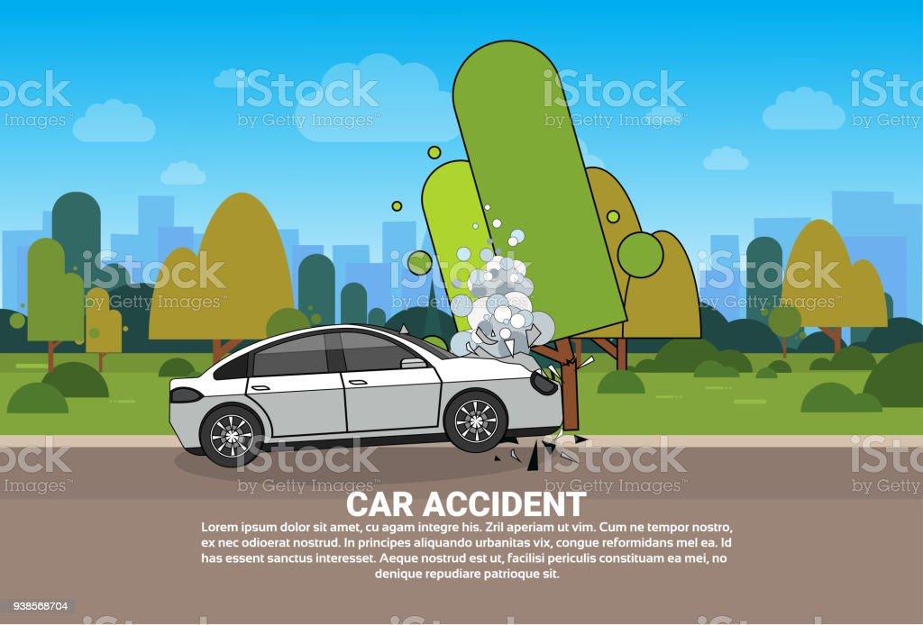 Autounfall Auf Der Straße Gebrochen Fahrzeug Am Straßenrand Brauchen ...