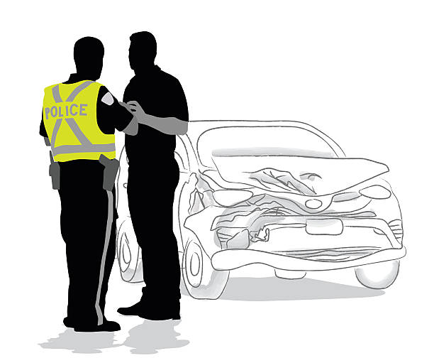 Car Accident Police Questions A vector silhouette illustration of a police officer talking to a man, investigating a car crash.  The car has a smashed up front end and is drawn in pencil. police interview stock illustrations