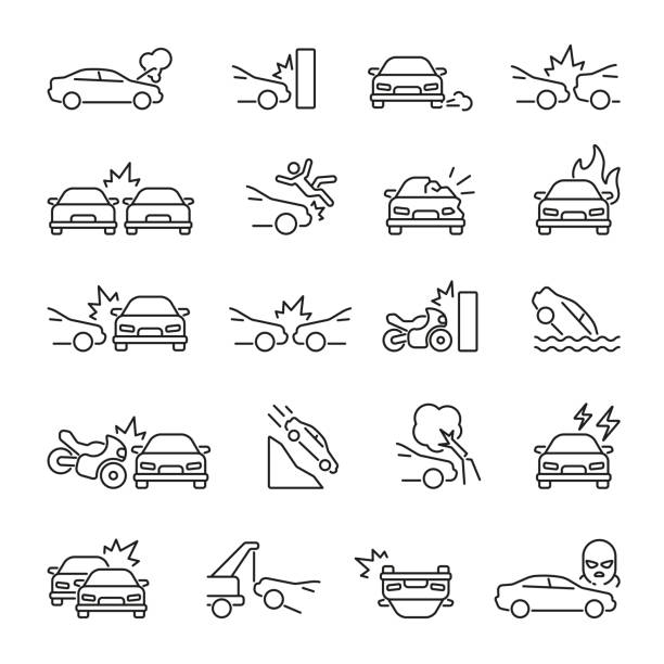Car Accident related icons Car Accident related icons: thin vector icon set, black and white kit damaged stock illustrations