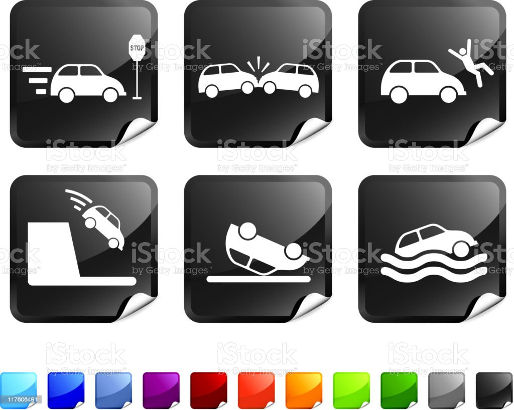 Car Accident Royalty Free Vector Icon Set Stickers Stock