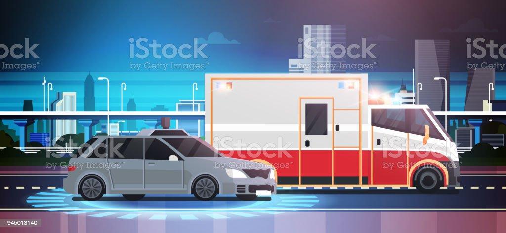 Autounfallszene Straße Crush Mit Krankenwagen über Stadt Hintergrund ...