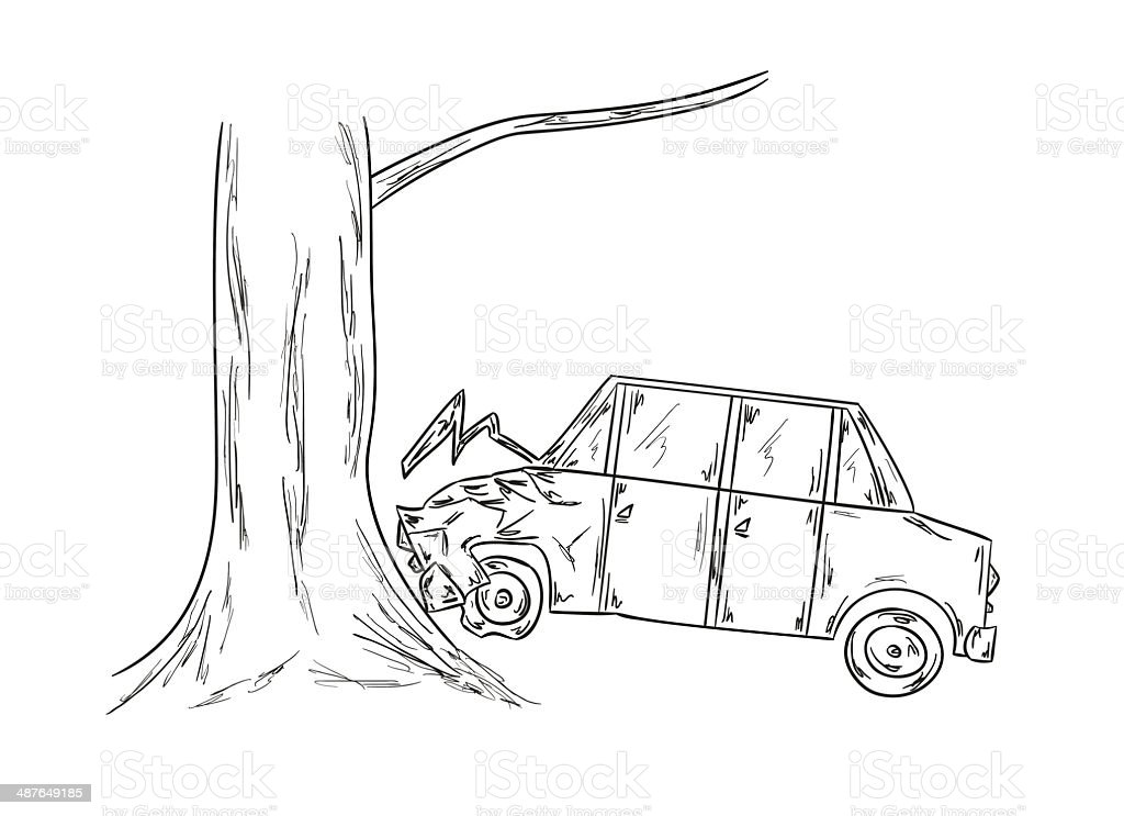 Car Accident Sketch Stock Vector Art & More Images of Accidents and ...