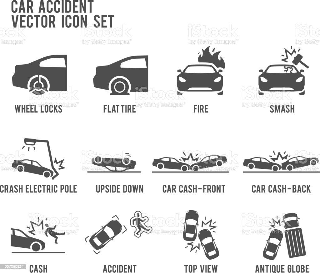 Car Accident Smash Cash Vector Icon Set Stock Vector Art & More ...