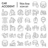 Car accident thin line icon set. Road traffic signs collection, sketches, logo illustrations, web symbols, outline style pictograms package isolated on white background. Vector graphics