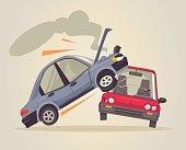 Car accident. Vector flat cartoon illustration