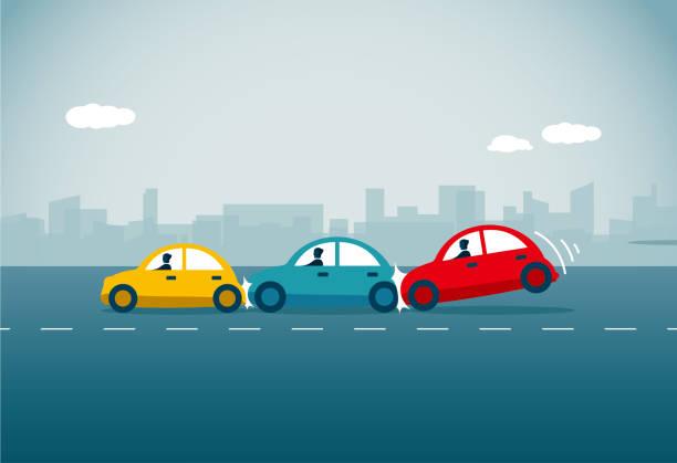 bildbanksillustrationer, clip art samt tecknat material och ikoner med bilolycka - krockad bil