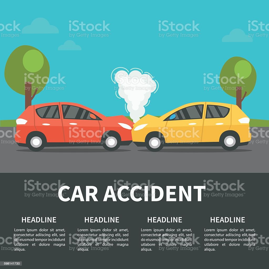 Car accident vector art illustration