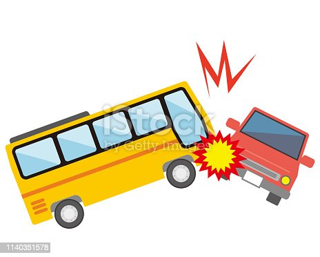 car accident with a bus icon vector illustration