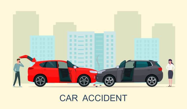Car accident with drivers man and woman. Vector illustration. vector art illustration