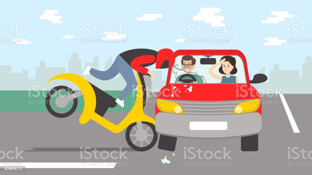 Car accident with motorbike. vector art illustration
