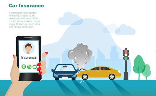 Car accident,cars crashed on the street. Woman hand holding smartphone calling help from car insurance.