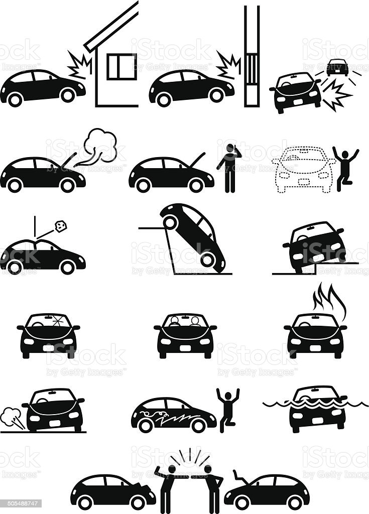 Car accidents and property damage or failure. Trouble vector art illustration