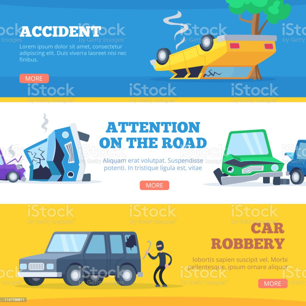 Car Accidents Damaged And Broken Automobiles Scene Of Carsh